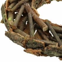 Ghirlanda decorativa con rami e muschio di corteccia Ø40cm