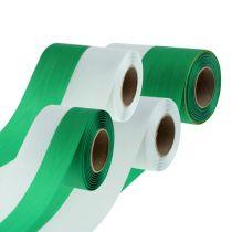 Nastri ghirlanda Moiré verde-bianco vers. Larghezza 25m