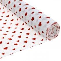 Carta crespa con cuori Crêpe da fiorista Festa della mamma rossa, bianca 50 × 250 cm