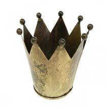 Portacandela Crown in metallo effetto ottone anticato Ø12.5cm H11.5cm