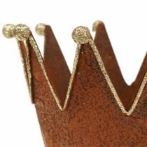 Vaso decorativo Corona Ruggine Oro Ø13,5 cm H11,5 cm 2 pezzi