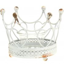 Porta tealight corona bianco Ø13cm H9,5cm
