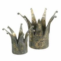 Corona in metallo dorato aspetto antico Ø13,5 / 17,5 cm set di 2