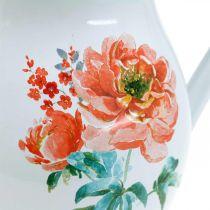 Brocca decorativa, vaso di fiori effetto vintage, brocca smaltata con motivo a rose H19cm