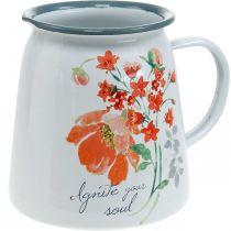 Brocca decorativa con rose selvatiche, brocca smaltata, vaso in metallo effetto vintage H12,5cm