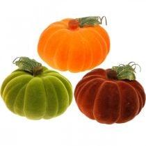 Zucca decorativa floccata mix arancio, verde, rosso decorazione autunnale 16cm 3 pezzi