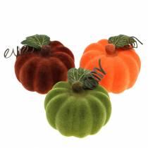 Mini zucca floccata arancione, verde, rossa Ø9cm 6 pezzi