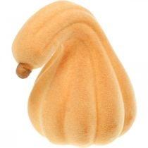 Zucca decorativa ricurva arancione floccata Zucca decorativa artificiale 18cm