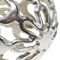Sfera decorativa traforata in metallo argento Ø15cm