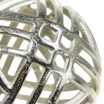 Sfera decorativa traforata in metallo argento Ø20cm