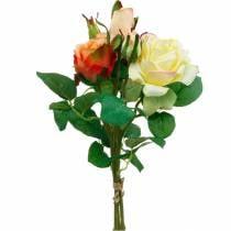 Fiori artificiali, bouquet di rose, decorazioni per la tavola, fiori di seta, rose artificiali giallo-arancio