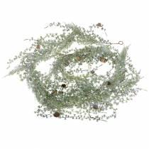 Ghirlanda di larice verde/ghiacciata con coni 180cm