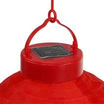 Lampion LED con solare 20cm rosso