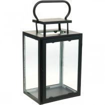 Lanterna decorativa in metallo nero, lanterna rettangolare in vetro 19x15x30,5cm