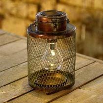 Lanterna in metallo, lampada solare, LED, ottica antica Ø13,5cm H28,5cm