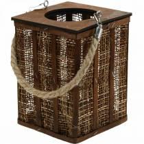 Lanterna con motivo intrecciato, decoro candela da appendere, lanterna in legno H41cm