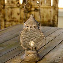 Lanterna in metallo, lampada LED, Shabby Chic Ø16cm H33,5cm