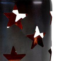 Lanterna con motivo a stella nero-rame Ø10cm H13,5cm