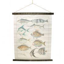 Quadro decorativo in tela di lino con pesce 60 cm x 72 cm