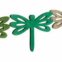 Libellule da spargere, decoro estivo in legno, decoro tavola verde 48pz
