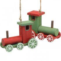Locomotiva Decorazioni per l'albero di Natale legno rosso, verde 8,5 × 4 × 7 cm 4 pezzi