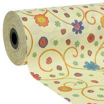 Polsino di carta 25cm 100m crema con fiori