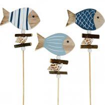 Tappi decorativi marittimi, pesci e conchiglie sul bastone, decorazioni marine, pesce in legno 6pz