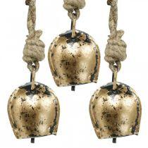 Campane in metallo da appendere, decorazioni per la casa di campagna, campanacci dorati, aspetto antico 5 × 3.5cm 12 pezzi