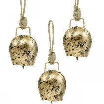 Campane da appendere, mini campanacci, casa di campagna, campane in metallo dorato, aspetto antico 7 × 5 cm 12 pezzi