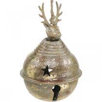 Campane di metallo con decorazione di renne, decorazione dell'Avvento, campana di Natale con stelle, campane d'oro aspetto antico Ø9cm H14cm 2 pezzi