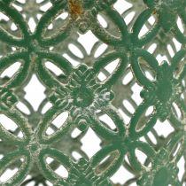 Cestino ovale in metallo con manico 25 cm x 16,5 cm H21 cm verde