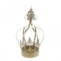 Corona in metallo, portacandelina per l'Avvento, fioriera per appendere dorata, aspetto antico Ø16.5cm H27cm
