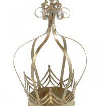 Corona decorativa da appendere, fioriera, decorazione in metallo, Avvento dorato, aspetto antico Ø19,5cm H35cm