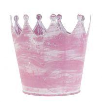 Corona in metallo rosa lavato bianco Ø10cm H9cm 6pz