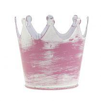 Corona in metallo rosa lavato bianco Ø8cm H7cm 8 pezzi