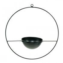 Portavaso per appendere anello in metallo nero Ø38cm con ciotola Ø15cm