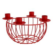 Ciotola in metallo con 4 portacandele rossi Ø22cm