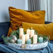 Ciotola in metallo con manici, fioriera, vassoio decorativo, aspetto antico, lavato bianco L51 / 40,5 cm, set di 2