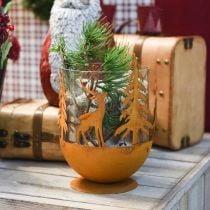 Ciotola in metallo con cervo, decorazione foresta per l'Avvento, vaso decorativo in acciaio inossidabile Ø25cm H29cm