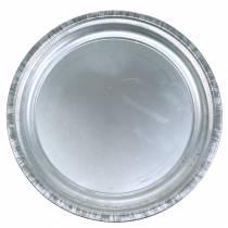 Piatto decorativo metallo argento lucido Ø36cm H3cm
