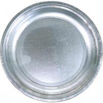 Piatto decorativo, base per arrangiamento, piatto d'argento, decorazione della tavola Ø26cm