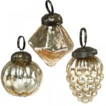 Mini palline per alberi, diamante / palla / cono, decorazioni per alberi mescolano aspetto antico Ø3–3,5 cm H4,5–5,5 cm 9 pezzi