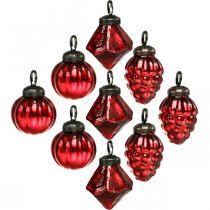Mini mix di decorazioni per alberi, diamante / sfera / cono, palline di vetro aspetto antico Ø3–3,5 cm H4,5–5,5 cm 9 pezzi