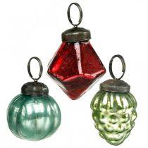 Mini mix di palline per albero di Natale, diamante / pallina / cono, palline di vetro aspetto antico Ø3–3,5 cm H4,5–5,5 cm 9 pezzi