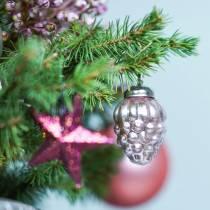 Mini decorazioni per alberi di Natale mix 4,5 cm argento, rosa assortiti 10 pezzi