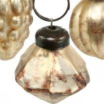 Mini mix di sfere di vetro, diamante / sfera / cono, decorazioni per alberi, aspetto antico Ø3–3,5 cm H4,5–5,5 cm 9 pezzi