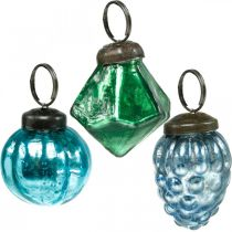 Mini mix di sfere di vetro, diamante / sfera / cono, decorazioni per alberi di Natale aspetto antico Ø3–3,5 cm H4,5–5,5 cm 9 pezzi