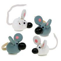 Mini topo in legno bianco grigio 2 cm 24 pezzi