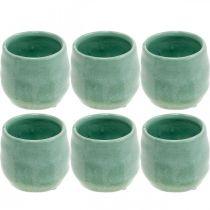 Mini fioriera, vaso in ceramica, lanterna decorativa, vaso per piante motivo a onde Ø8cm 6 pezzi