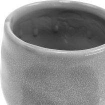 Fioriera in ceramica, mini fioriera, decoro in ceramica, motivo a onde luminose Ø8cm 6 pezzi